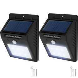 2x LED lampe med bevægelsessensor og solceller