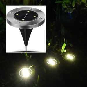 4 stk. udendørs LED solcellelamper til haven med spyd