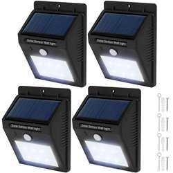 4x LED lampe med bevægelsessensor og solceller