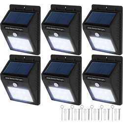 6x LED lampe med bevægelsessensor og solceller