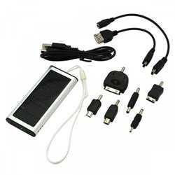 Digibuddy SolarLader / Powerbank Solar/ Ekstern Batteri 5V 1000mAh inklusive 6-teiliges Adapterset, 5V, Li-Polymer
