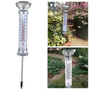 Grundig udendørs termometer med solcelle lampe