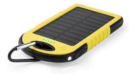 Solcelle Powerbank Med 40000 Mah - Inkl. Usb Kabel - Gul