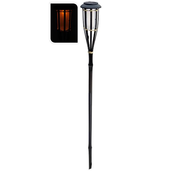 Solcelle fakkel LED lampe med levende flamme - Bambus