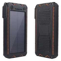 Universal Outdoor Power Bank / Solcelle Oplader 10000mAh - Sort / Orange