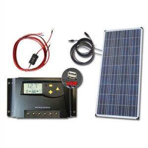 Solcelleanlæg 12V m/160Wp & 20A MPPT lader m/display